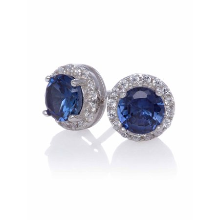 Created Blue Sapphire Stud with Created White Sapphire Halo Earrings