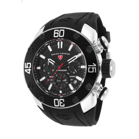 Swiss Legend 10616Sm-01-Rda Lionpulse Chronograph Black Silicone And Dial Red Accent Watch