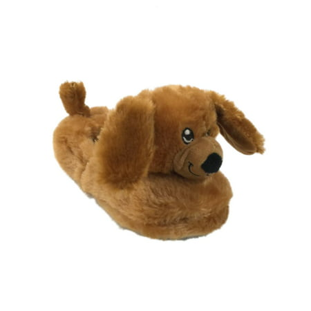Build A Bear Boys Plush Brown Puppy Dog Slippers House Shoes