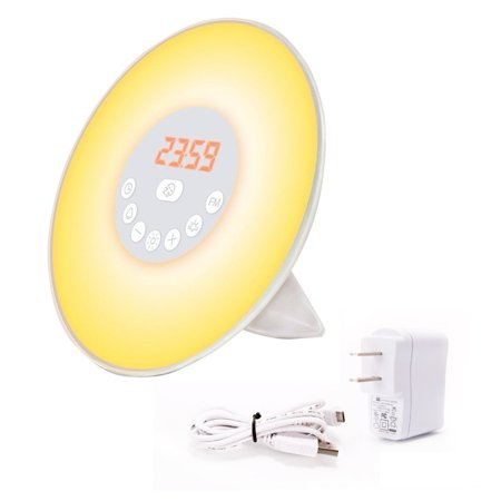 Sunrise Alarm Clock Light - Sunrise Alarm Clock, Digital Clock, Wake Up Light with 6 Nature Sounds, FM Radio and Touch Control (White)