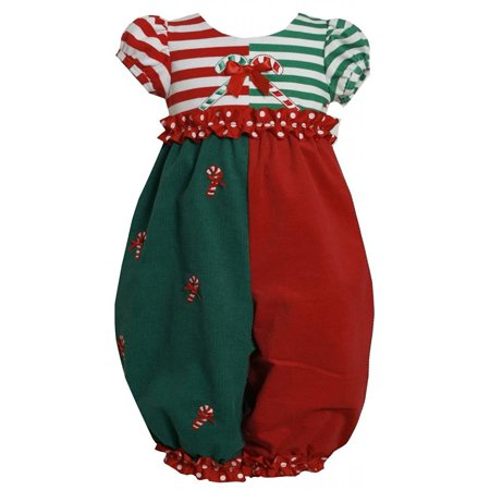 7a9391a88f1 Bonnie Jean - Baby Girl 3M-24M Red Green Colorblock Candy Cane Applique  Romper, Bonnie Jean - Walmart.com