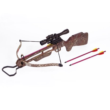 150 lb Preminum Wood / Camouflage Pre-Strung Hunting Crossbow Archery Bow w/ 4x20 Scope +12 Arrows / Bolts 180 80 50 thumbnail