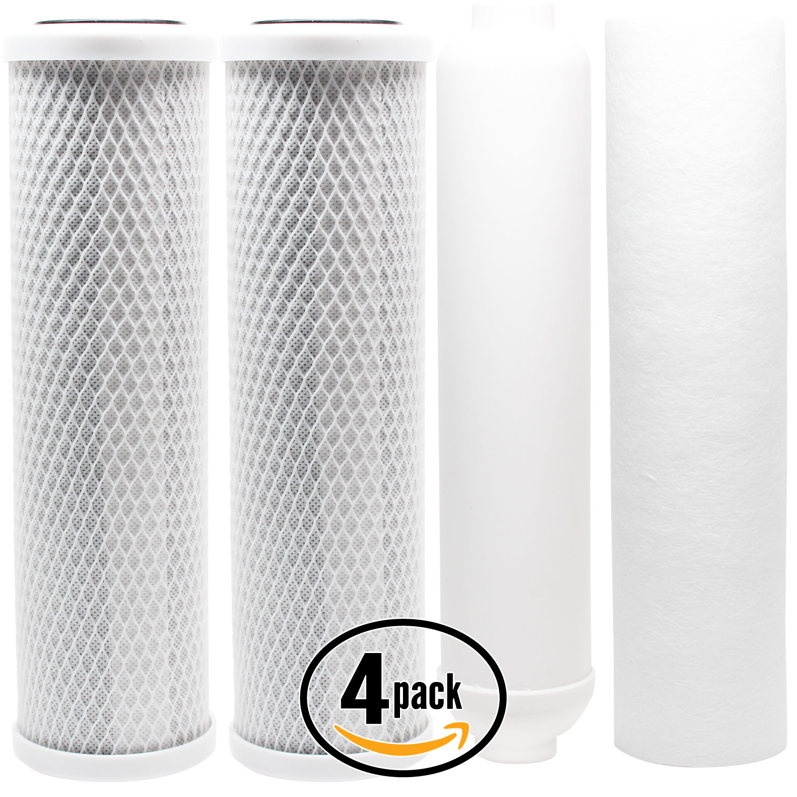 4-Pack Replacement Filter Kit for APEC ROES-PH75 RO System - Includes Carbon Block Filters, PP Sediment Filter & Inline Filter Cartridge - Denali Pure Brand