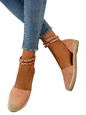 Findssss Women's Rivet Design Casual Flat Espadrilles Shoes