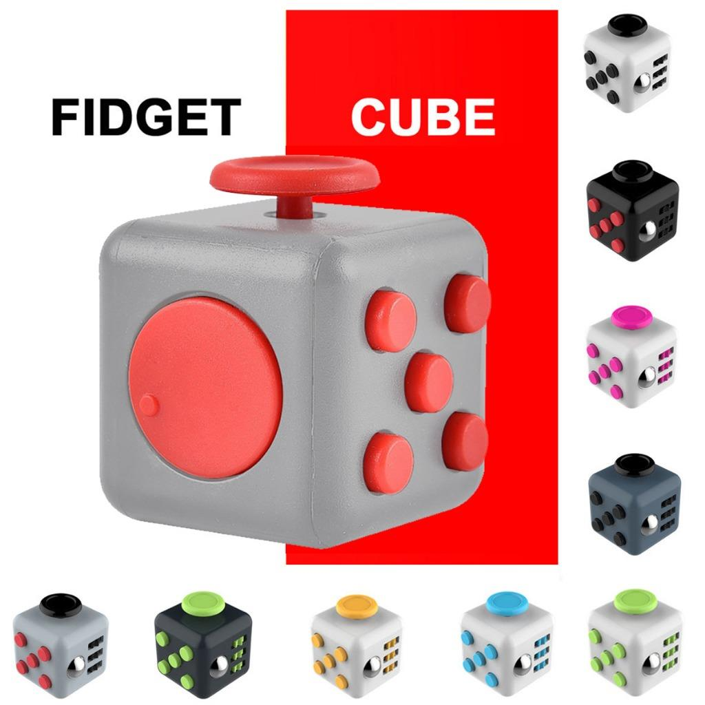 Dice Magic FIDGET CUBE Desk Toy Stress Anxiety Relief Focus Gift Adult Kid Black&Red
