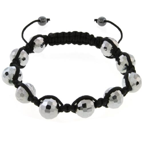 10MM Silver Color Cross Cut Fancy Beads and Magnetic Ball Adjustable Bracelet