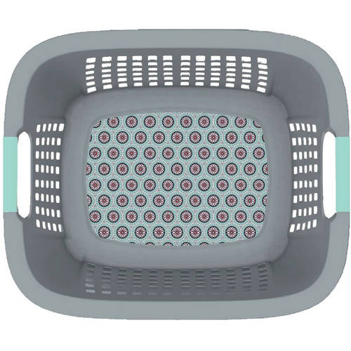 Home Logic 1.5Bu Laundry Basket with Decorative Medallion IML Quarry Color