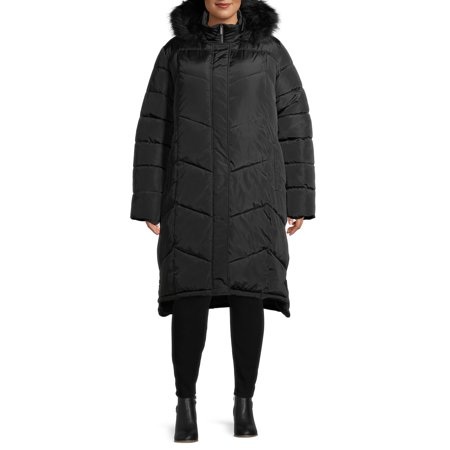 Big Chill Women's Plus Size Faux Memory Chevron Quilted Maxi Coat With Faux Fur Hood