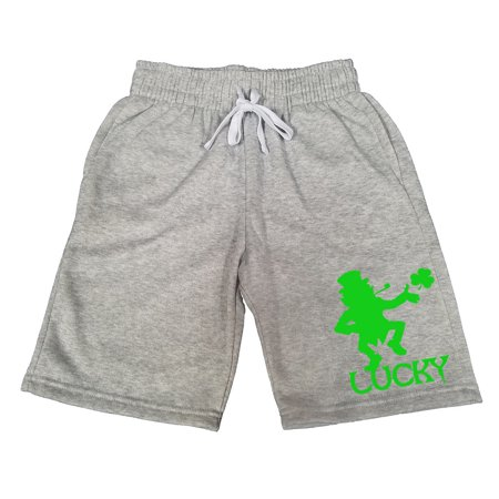 Men's Lucky Leprechaun V511 Gray Fleece Jogger Sweatpants Gym Shorts Large (Leprechaun Pants)