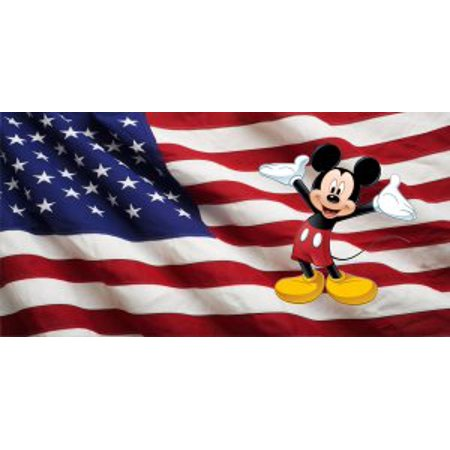 American Flag Mickey Mouse Photo License Plate