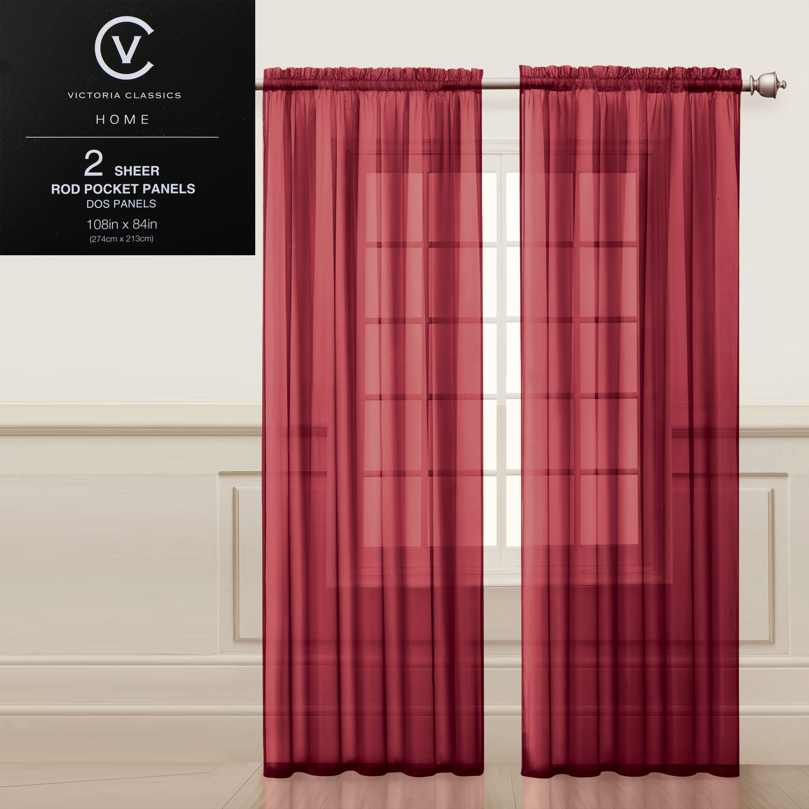 Two 2 brick red sheer rod pocket window curtain panels 108w x 84l fully hemmed walmart com
