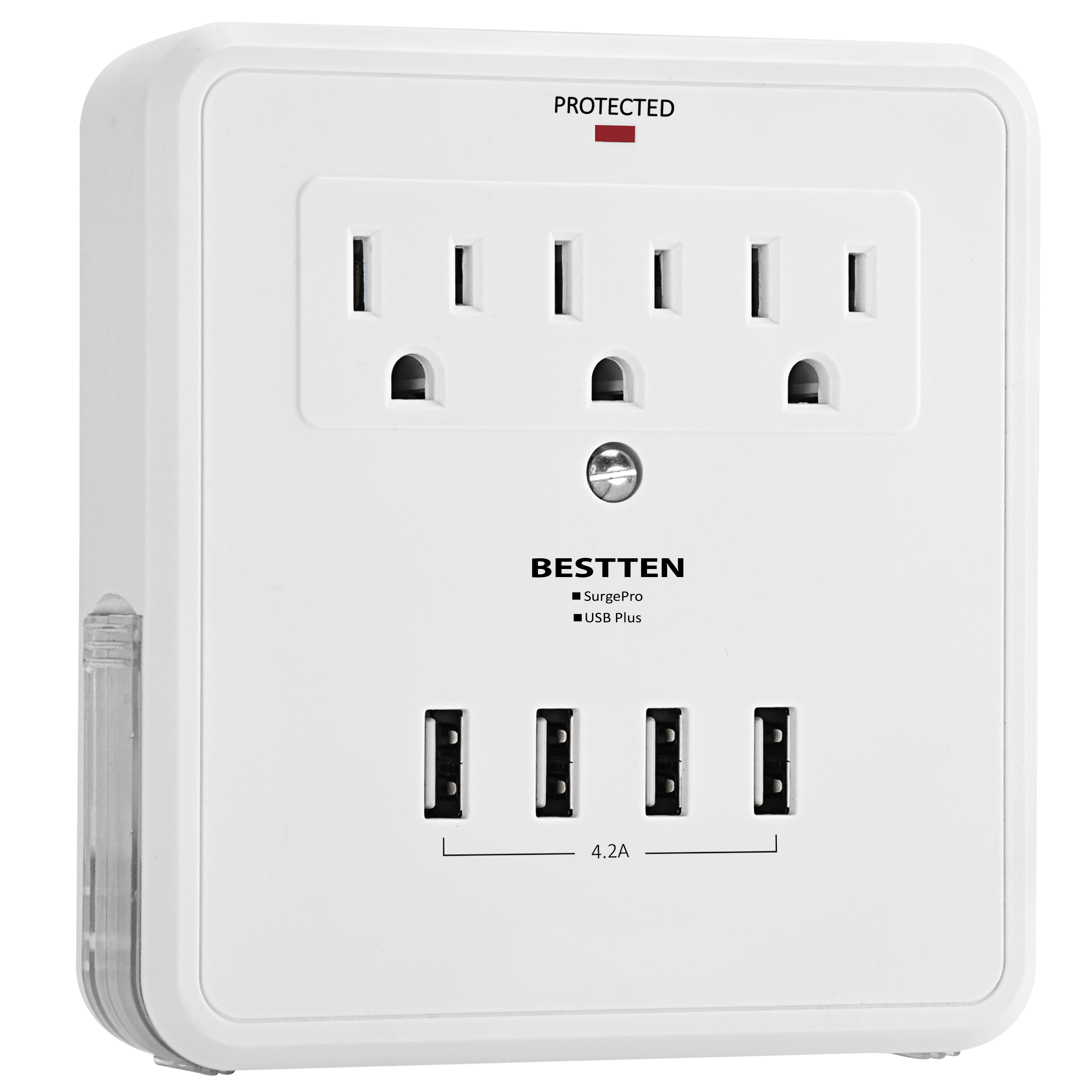 Bestten Wall Mount Adapter Surge Protector With 4 Usb