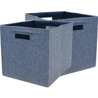 """Better Homes & Gardens Fabric Cube Storage Bins (12.75"""" x 12.75""""), Set of 2, Multiple Colors"""