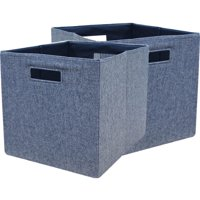 """Better Homes and Gardens Fabric Cube Storage Bins (12.75"""" x 12.75""""), Set of 2, Multiple Colors"""