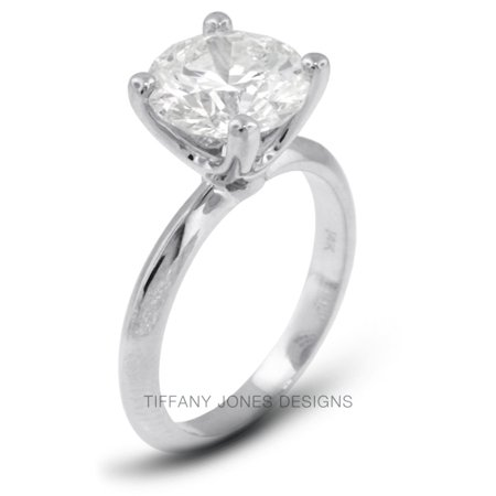 1.10ct H-I1 VG Round AGI Natural Diamond 14k Gold Classic Solitaire Ring 2.6gram (Tiffany Solitaire)