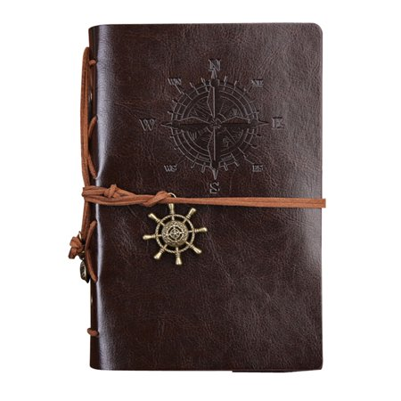 Refillable Notepad Holder - Retro Leather Cover Refillable Blank Line Spiral Notebook Corsair Pendants Nautical Journal Planner Diary Loose-leaf Sketchbook Scrapbook School Office Travel Pocket Notepad - Middle (Coffee)