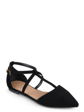 Women's Pointed Toe Ankle Wrap T-strap D'orsay Flats