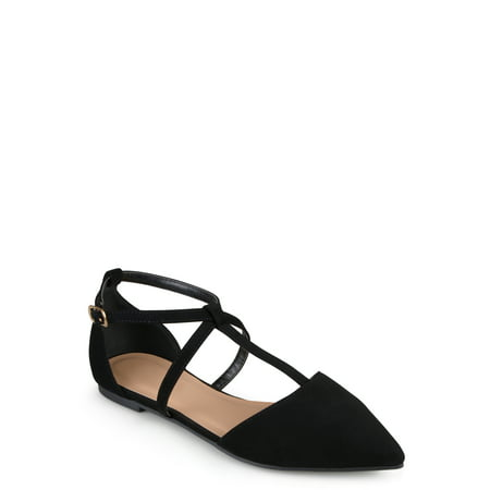 Women's Pointed Toe Ankle Wrap T-strap D'orsay (Dorsay Style T-strap Pump Shoes)