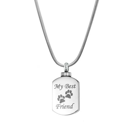 Anavia My Best Friend Dog Tag necklace Pet Cremation Urn Pendant memorial jewelry with Free Funnel Kit and velvet jewelry (Best Cremation Care Reviews)