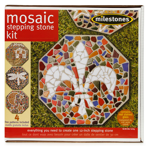 Milestones Mosaic Stepping Stone Kit - Makes a 12-Inch Stone
