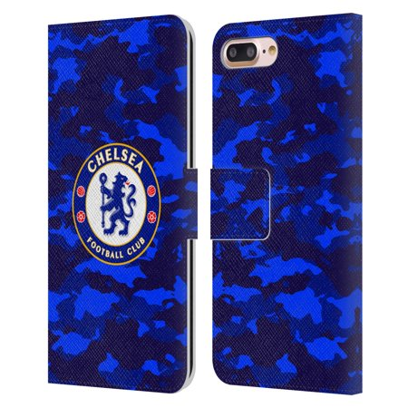 Head Case Designs Officially Licensed Chelsea Football Club Crest Camouflage Leather Book Wallet Case Cover Compatible with Apple iPhone 7 Plus / iPhone 8 Plus