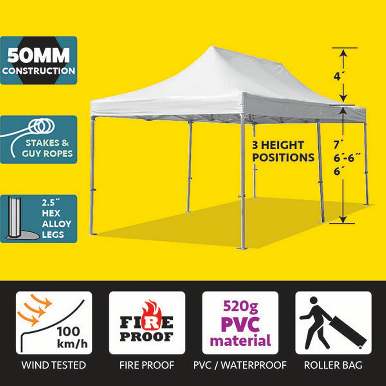 Party Tents Direct 10x20 50mm Speedy Pop Up Instant Canopy Event Tent, Various Colors
