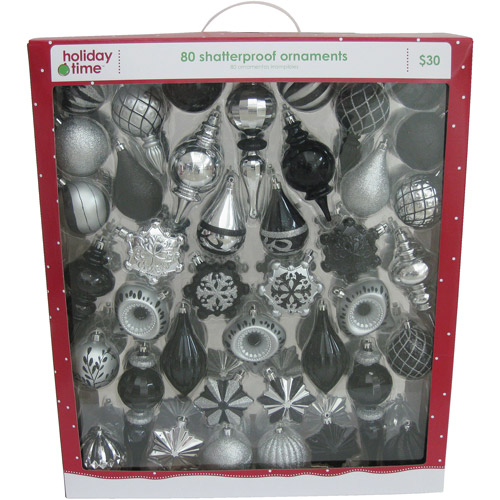 Holiday Time Black and Silver Shatterproof Christmas Ornaments, Set of 80