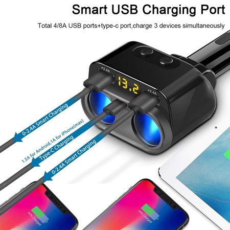 USB C Car Charger, 2 Sockets Cigarette Lighter Splitter for iPhone 11/11 Pro/X/8/7, Samsung, Google Pixel and More, UL Listed - image 7 de 9