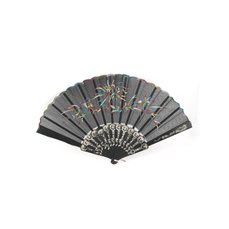 Unique Bargains Black Embroidered Grass Pattern Golden Tone Plastic Frame Hand Fan](Plastic Hand Fan)