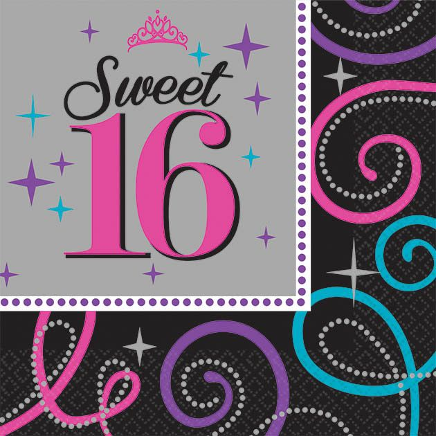 Sweet 16 Celebration Beverage Napkins (16 Pack) - Party Supplies