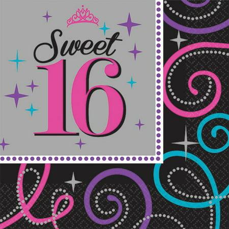 Sweet 16 Celebration Beverage Napkins (16 Pack) - Party Supplies