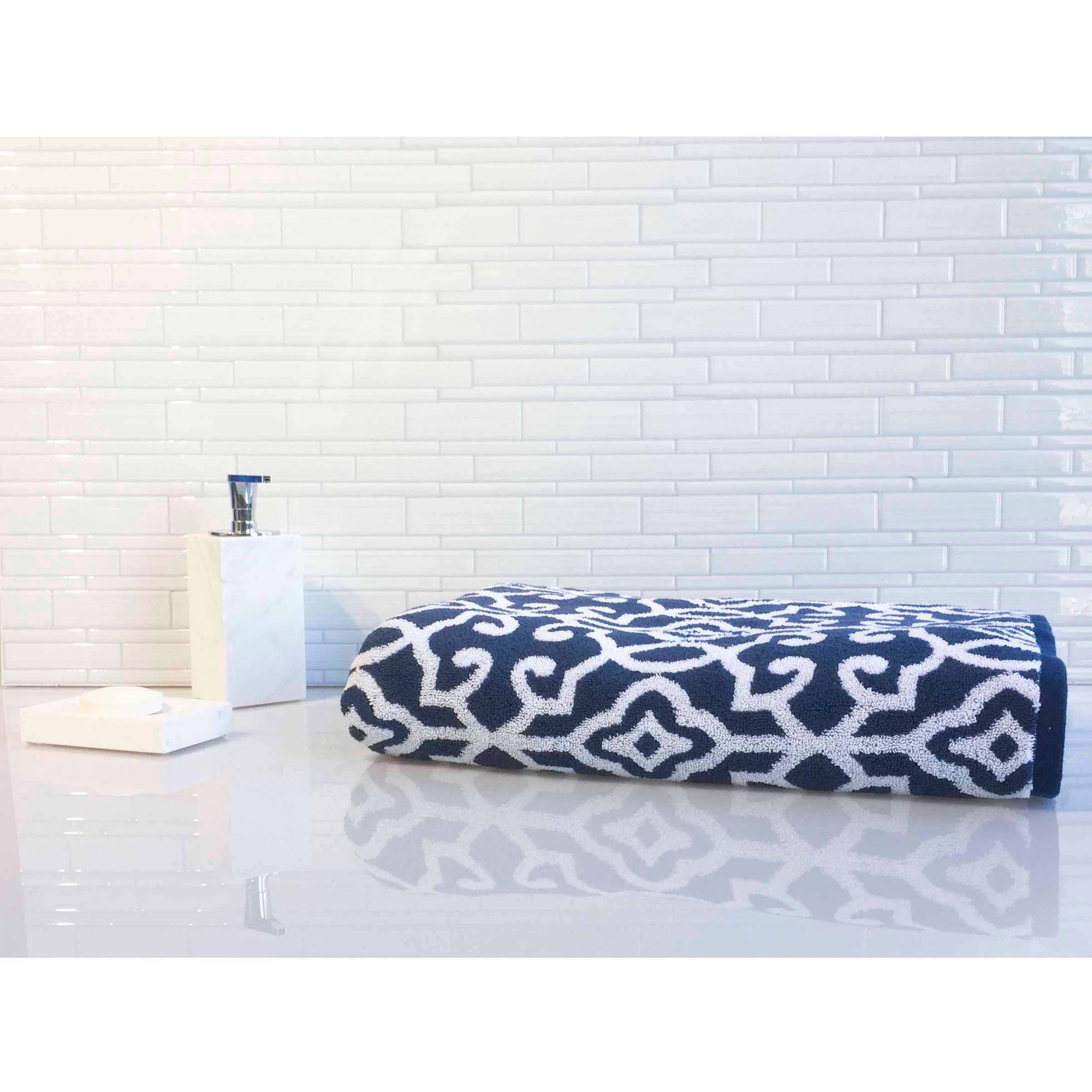 Better Homes and Gardens Thick and Plush Irongate Jacquard Bathsheet, Blue Admiral/Arctic White