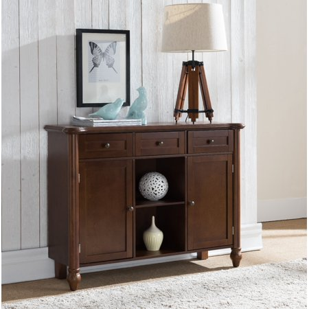 Levi Walnut Wood Transitional Sideboard Buffet Console Display Table With Storage Drawers, Cabinet Doors & Shelves