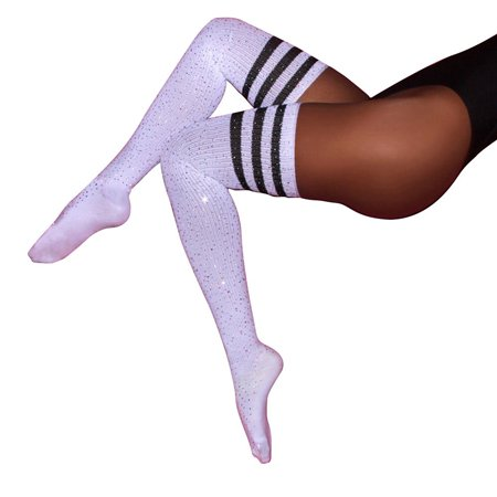 b6b3cb829e386 MJEWELRYGIFT - Fashion Sexy Rhinestone Striped Over Knee Socks Thigh High  Stockings - Walmart.com