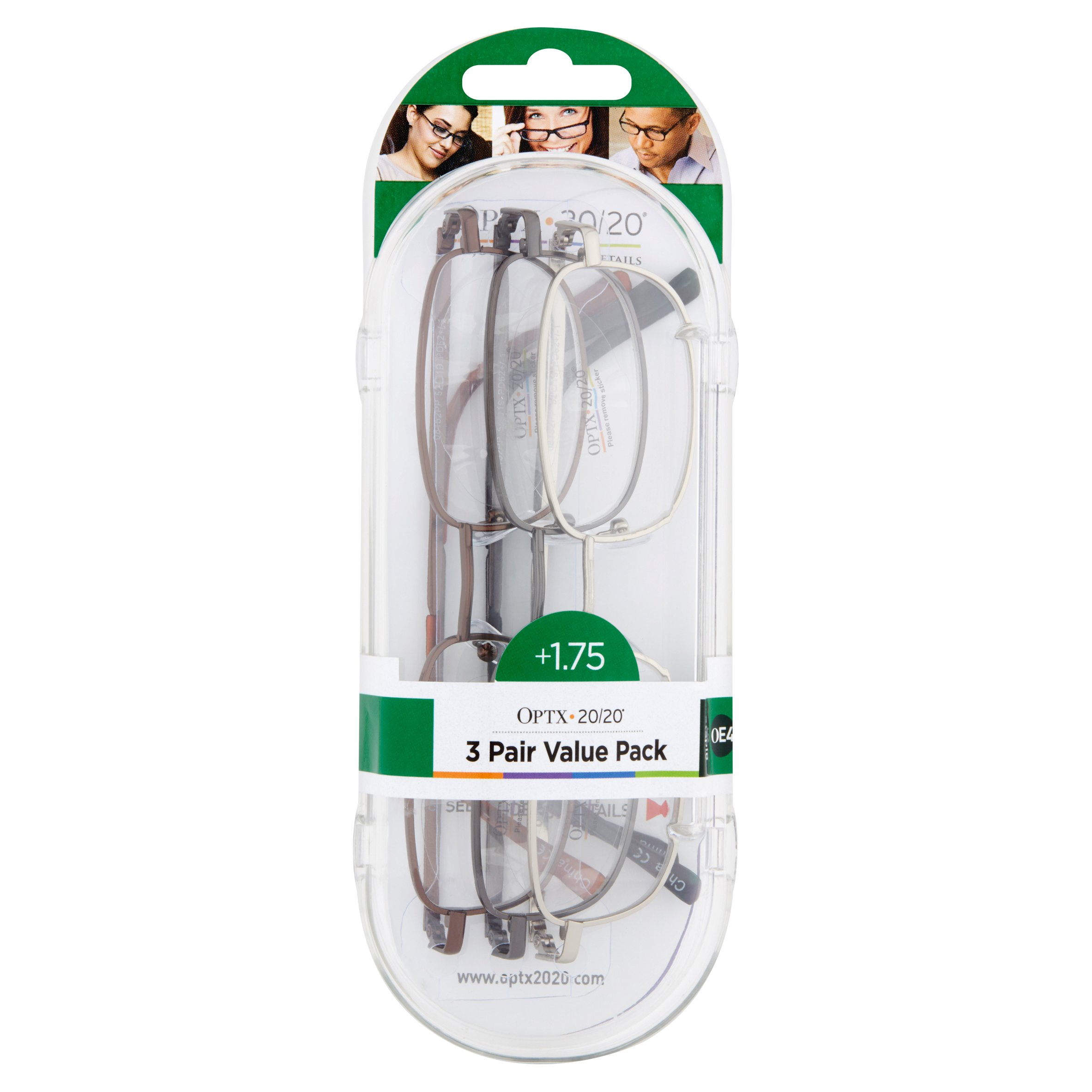 Optx 20/20 Staple OE4 +1.75, Reading Glasses Value Pack, 3 count