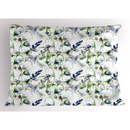 Flower Pillow Sham Floral Pattern with Sweet Pea Blossoms in Watercolor Paint Effect Spring Theme, Decorative Standard Size Printed Pillowcase, 26 X 20 Inches, Green White Blue, by Ambesonne](Spring Themed Sweet 16)