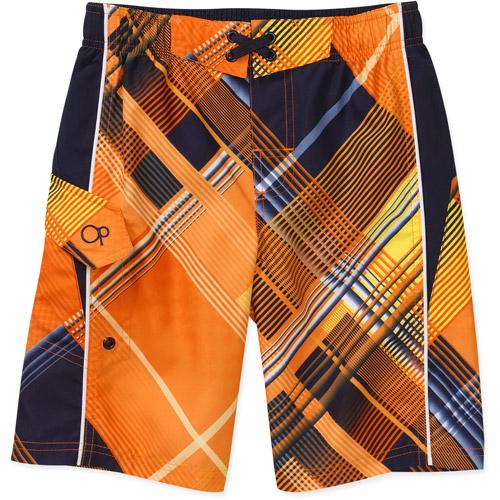 Op Boys Side Plaid Swim Shorts