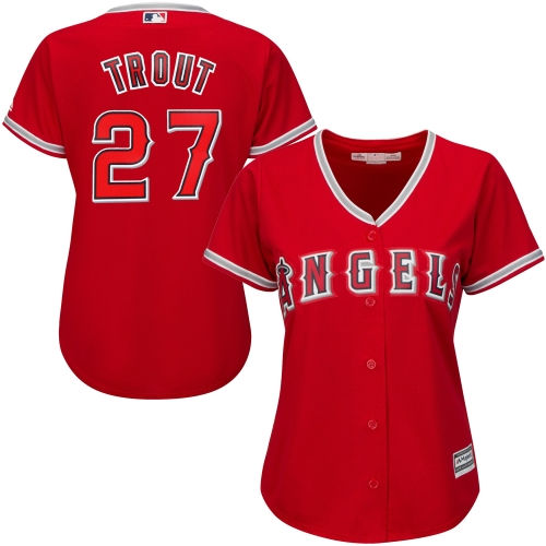 Mike Trout Los Angeles Angels Majestic Women's Cool Base Player Jersey Scarlet by MAJESTIC LSG