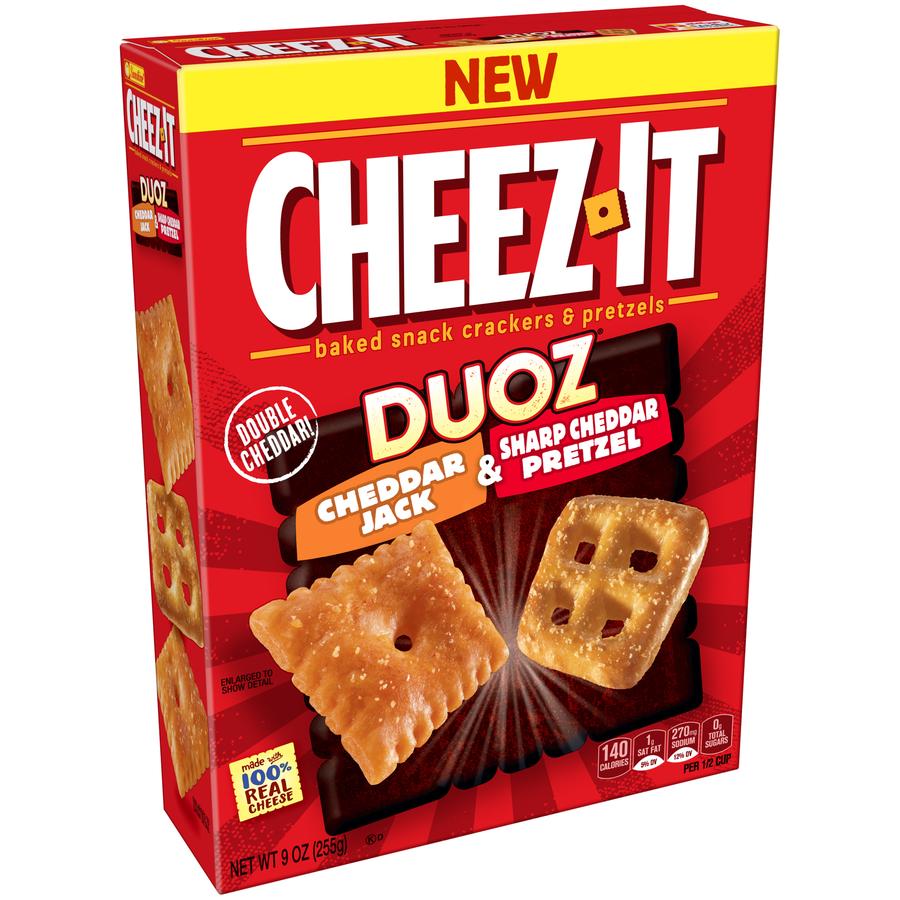 (3 Pack) Cheez-It Duoz Cheddar Jack & Sharp Cheddar Pretzel Snack Crackers & Pretzels 9 oz. Box
