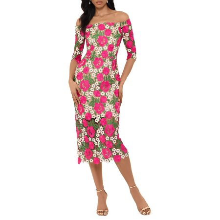 Floral Off-the-Shoulder Sheath Dress