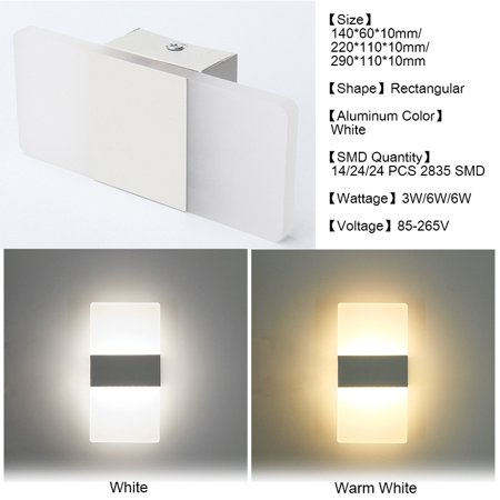 official photos 77288 a06ee KingSo Modern LED Wall Light Up Down Rectangular Sconce Lamp, 3W 24 SMD  Cube Indoor Outdoor Sconce Lighting Lamp Fixture