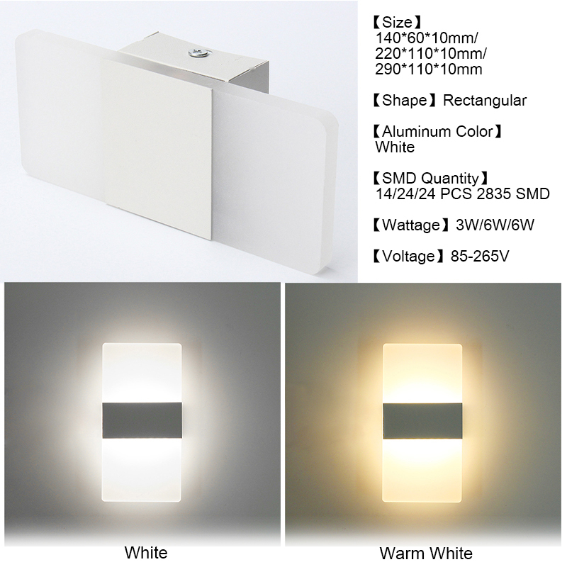 KingSo Modern LED Wall Light Up Down Rectangular Sconce Lamp, 3W 24 SMD Cube Indoor Outdoor Sconce Lighting Lamp Fixture