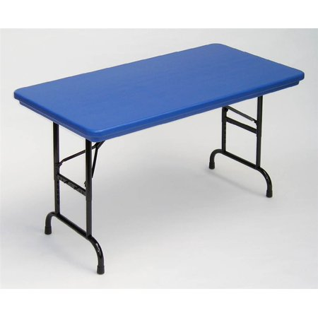 adjustable height folding table in blue w standard leg blue. Black Bedroom Furniture Sets. Home Design Ideas