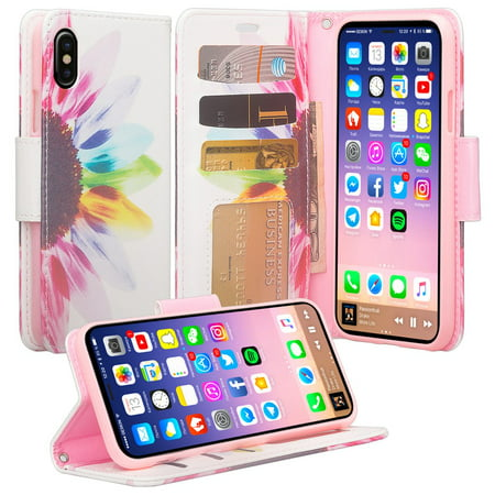 huge selection of 8edcf d8e4e Apple iPhone Xs Max Case, Leather Wallet Case Kickstand Phone Case for  iPhone Xs Max 2018 - Sun Flower