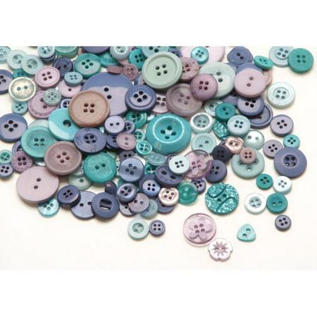 Assorted Ocean Blue Buttons: 1/2 pound