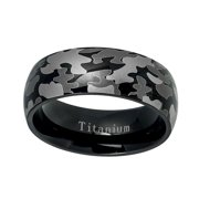 titanium wedding band ring 8mm black military army camouflage design titanium ring - White Camo Wedding Rings