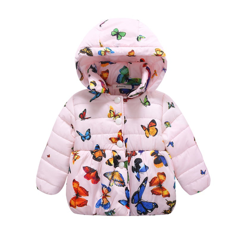 OBEEII Kids Baby Girls Winter Coat Jacket Hooded Floral Print Padded Warm Thick Down Zipper Trench Windproof Overcoat Snowsuit Outwear