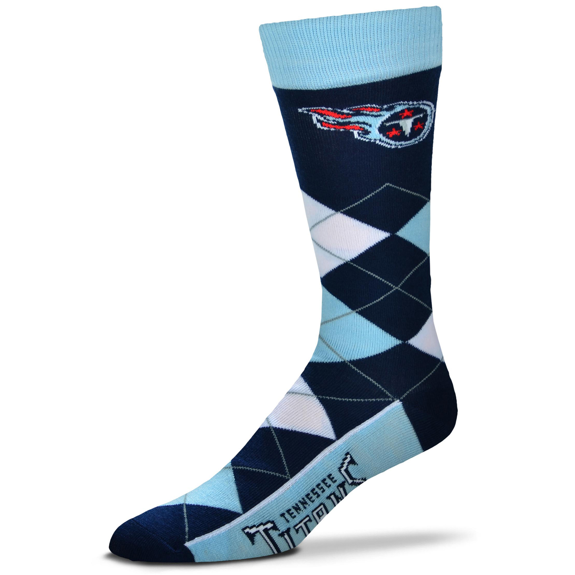 Tennessee Titans For Bare Feet Argyle Crew Socks - No Size
