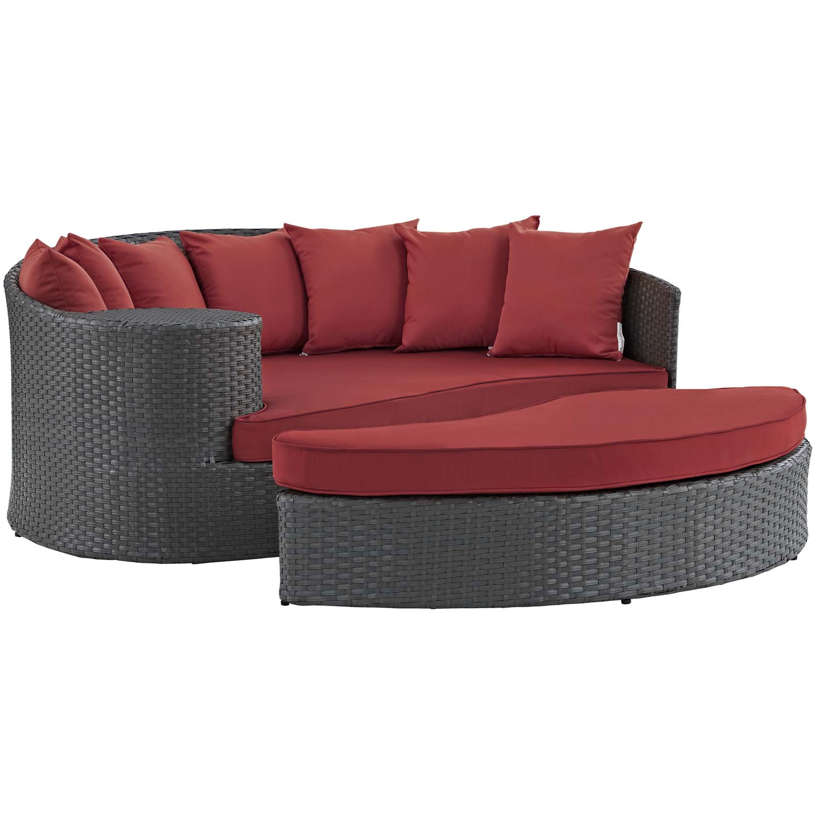Modern Contemporary Urban Design Outdoor Patio Balcony Garden Furniture Lounge Daybed Sofa Bed, Sunbrella Rattan Wicker, Red