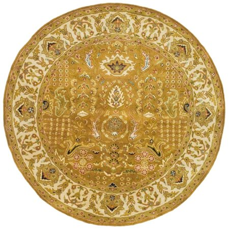 Safavieh Classic 8' Round Hand Tufted Wool Rug in Gold and Beige 8' Round Wool Rug